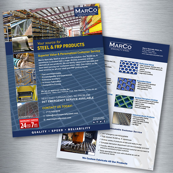 Marco Specialty Steel Sales Sheets