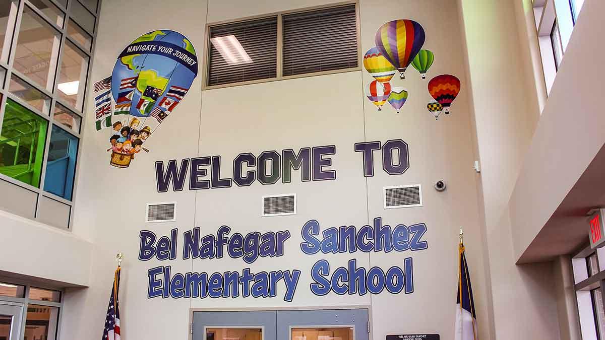 portfolio, entrance to sanchez elementary school